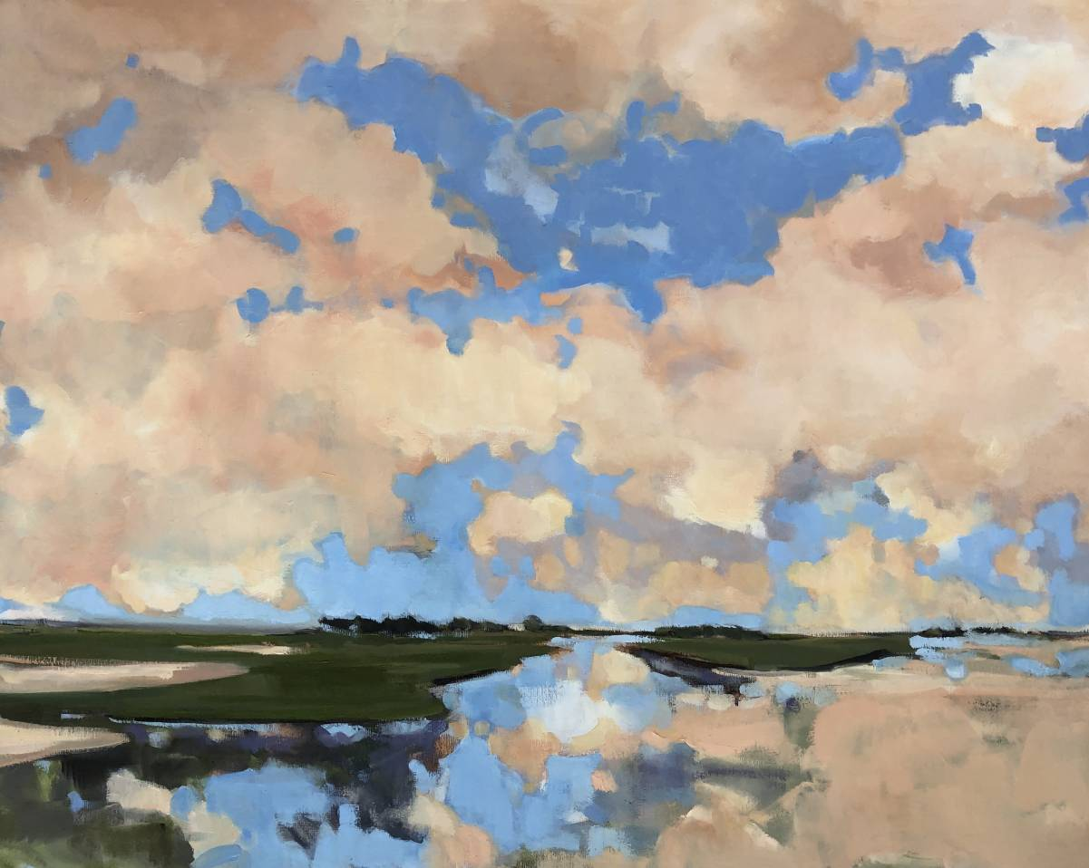 Evening clouds reflection - Stella Burggraaf - 100 x 80 - oil on canvas